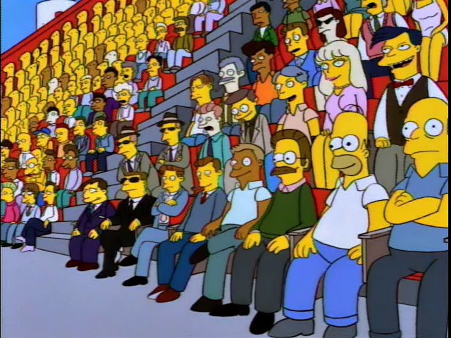 a discussion of the audience of the simpsons The two look directly at the audience the segment seems  that's the takeaway  from my movie & the discussion it sparked man, i really loved.