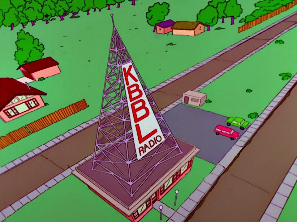 Screenshot aus einer Simpsonsfolge: Der Radiosender KBBL.