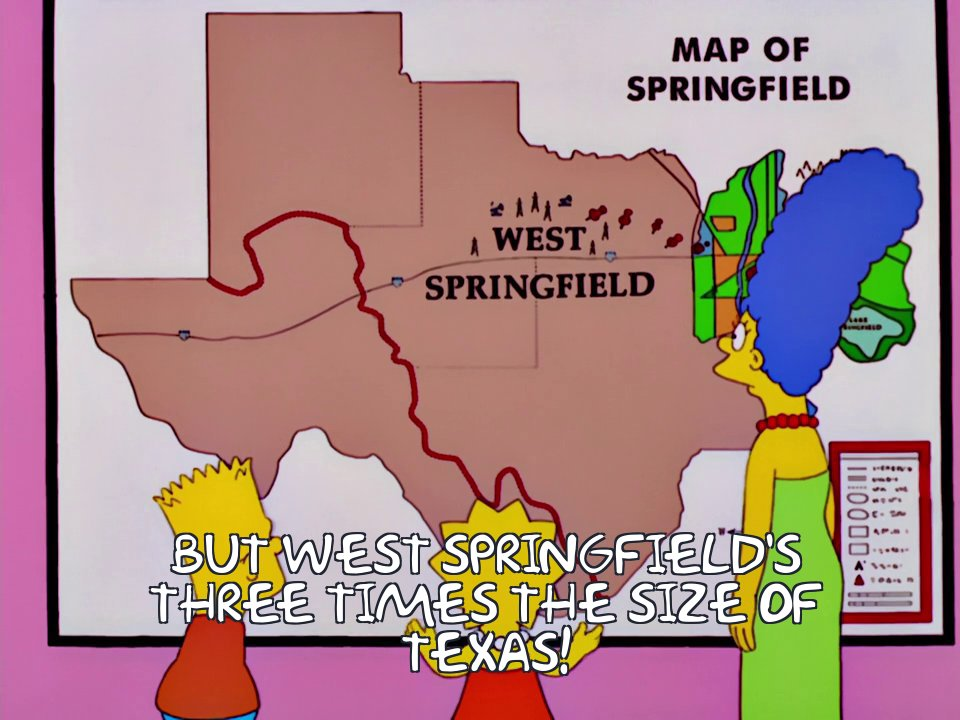 Springfield Texas Map Frinkiac   S13E10   But West Springfield's three times the size of